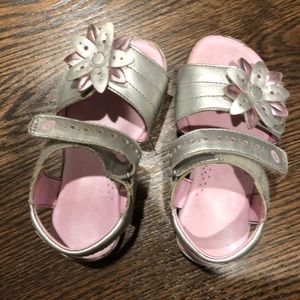 Girls pink and silver stride Rite sandals